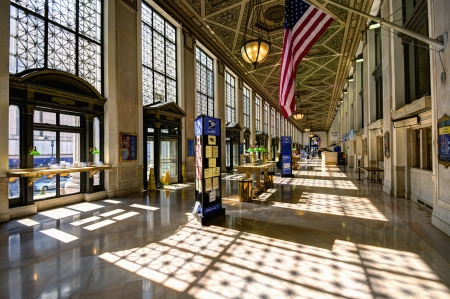 usps: NEW YORK CITY - APRIL 14: Main Hall of the James Farley Post Office April 14, 2013 in New York, NY. The building dates from 1812 and is being adaptively converted to house a concourse for Amtrak.