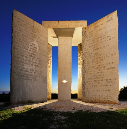 Mysterious Georgia Guidestones in North Georgia, USA. Editorial