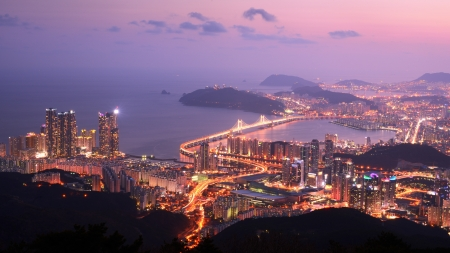 Skyline of Busan, South Korea at the Haeundae District. The city is the second largest in the country.