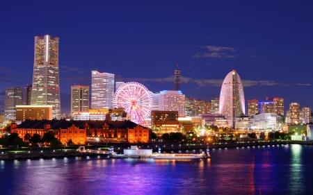 landmark: Skyline of Yokohama, Japan.