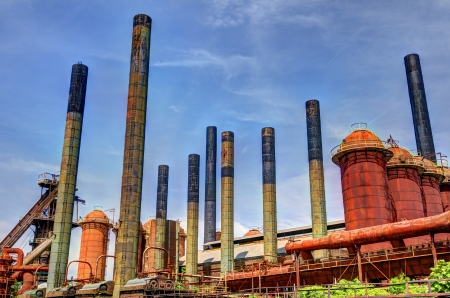Smoke stacks of an old factory. Stock Photo - 20159555