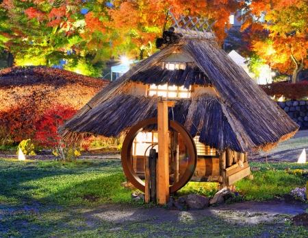 Replica of old japanese huts in Kawaguchi, Japan. Imagens
