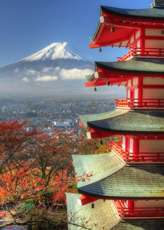 fuji san: Pagoda and Mt Fuji in Japan Editorial