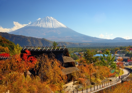 mt: Historic Japanese huts in Kawaguchi, Japan with Mt Fuji Visible in the distance. Editorial