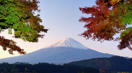 Panorama of Mt. Fuji with fall colors. photo
