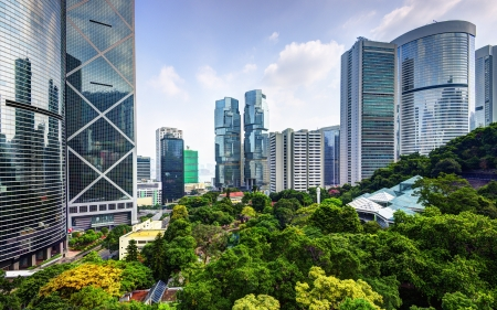 現代 Hong Kong、中国で Hong Kong 公園から見た高層ビル。 写真素材