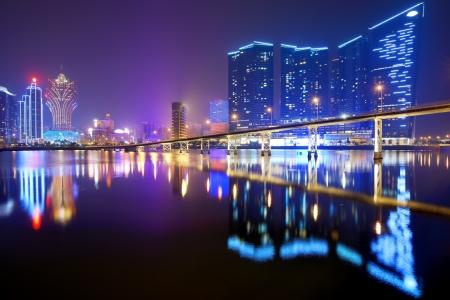 macau: Resorts and casinos at Nam Van Lake in Macau S.A.R, China.