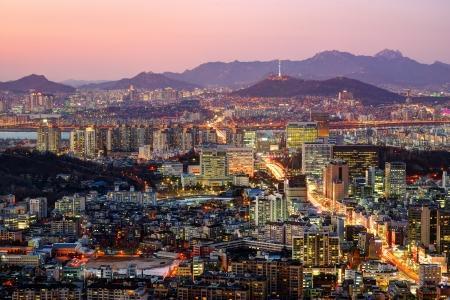 Aerial twilight view of Seoul, South Korea.
