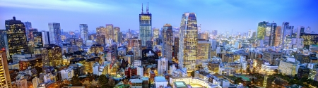 office buildings: Panorama of Office buildings in the Minato ward of Tokyo. Stock Photo