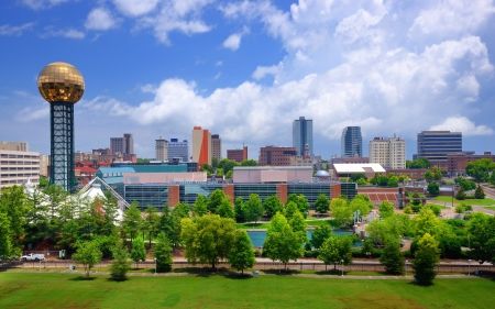 tn: Skyline of downtown Knoxville, Tennessee, USA. Stock Photo