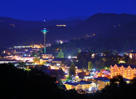 great smoky mountains: The skyline of downtown Gatlinburg, Tennessee, USA in the Great Smoky Mountains.
