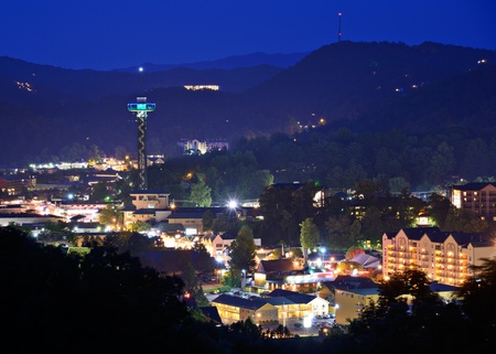 The skyline of downtown Gatlinburg, Tennessee, USA in the Great Smoky Mountains. photo