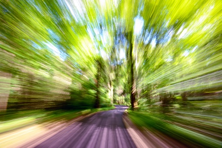 motion blur on a forest road Stock Photo
