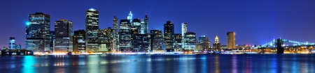 panorama view: Lower Manhattan skyline in New York City. Stock Photo