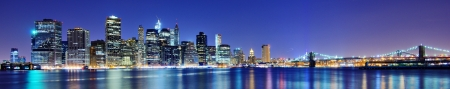 night scenery: Lower Manhattan skyline in New York City. Stock Photo