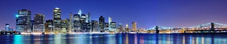 new york night: Lower Manhattan skyline in New York City. Stock Photo
