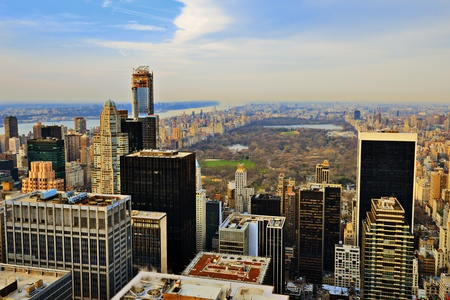 Manhattan skyline with a view of Central Park facing uptown in New York City.