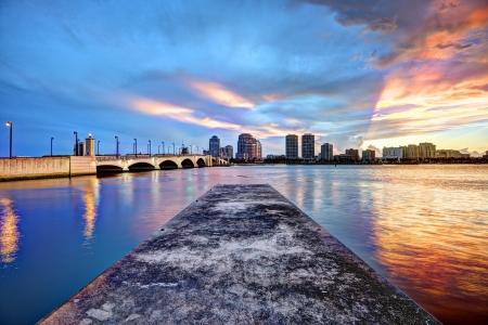 waterway: West Palm Beach, Florida Downtown cityscape Stock Photo