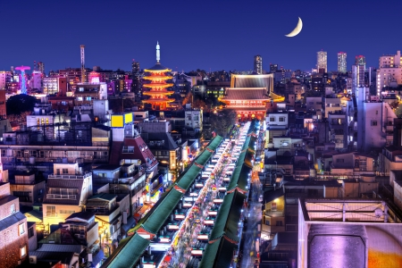 asakusa: Skyline of the Asakusa District in Tokyo, Japan with famed temples.
