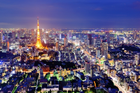 tokyo tower: Skyline of Tokyo, Japan. Stock Photo