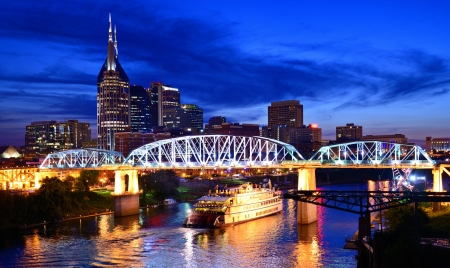River: Skyline of downtown Nashville, Tennessee, USA. Stock Photo