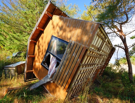 flipped: Overturned Home in Matsushima, Japan in the aftermath of the Tohoku Earthquake and Tsunami Stock Photo