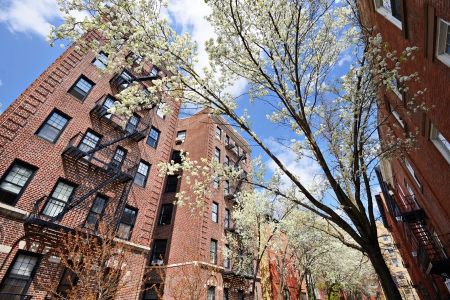 chelsea: Apartments in the spring in the Chelsea neighborhood of New York City. Stock Photo