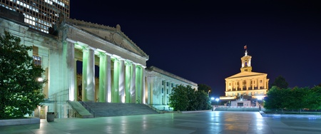 downtown capitol: Nashville War Memorial Auditorium and Tennessee State Capitol in Nashville, Tennessee, USA. Editorial