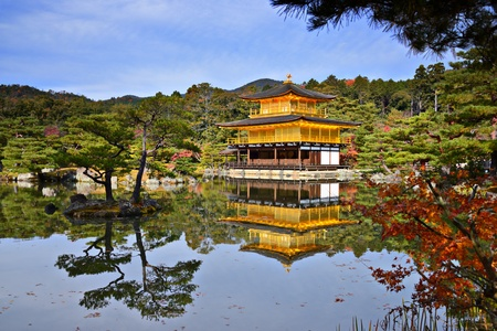 golden temple: Temple of the Golden Pavilion on Kyoto, Japan. Stock Photo