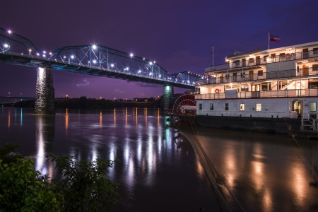showboat: Downtown Chattanooga, Tennessee from across the Tennessee River.