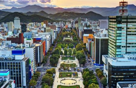 hokkaido: Cityscape of Sapporo, Hokkaido, Japan at Odori Park.