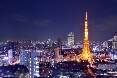 communications tower: Landmark Tokyo Tower in Tokyo, Japan. Stock Photo