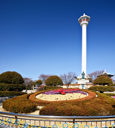 south park: Busan, South Korea - February 11, 2013: Tourists at Busan Tower. The tower is a 118 meters high and was built in 1973.