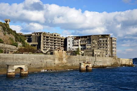 Abandoned island of Gunkanjima off the coast of Nagsaki, Japan
