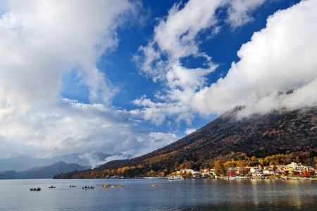 Mt. Nantai and Lake Chuzenji in Nikko, Japan. photo