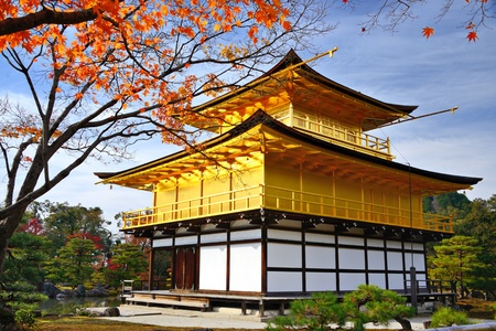 golden temple: Temple of the Golden Pavilion on Kyoto, Japan. Editorial