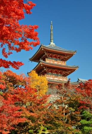 Kiyomizu-dera pagoda with fall colors November 19, 2012 in Kyoto, JP. Editorial