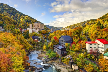 onsen: Hot springs resort town of Jozankei, Japan in the fall. Stock Photo