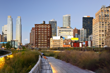 chelsea: New York City High Line at night in New York City. Stock Photo