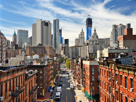 batiments: Lower Manhattan Cityscape in New York City.