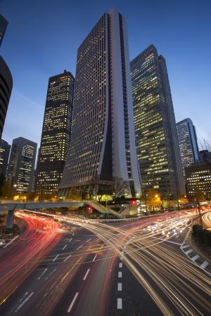 Tokyo, Japan financial district at Shinjuku. photo