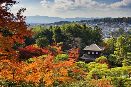 Ginkaku-ji Temple in Kyoto, Japan during the fall season.