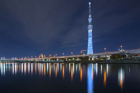 sumida ward: Tokyo, Japan at the Sumida River with the Skytree in the distance. Editorial