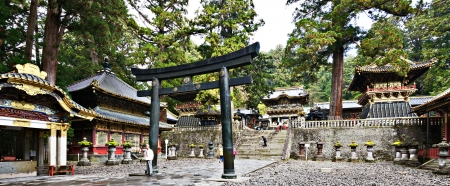 shogun: Nikko, Japan - November 11, 2012: Tourists at Toshogu shrine. The shrine holds the mausoleum of Tokugawa Ieyasu, founder of the Tokugawa shogunate, which ruled Japan for over 250 years until 1868.