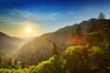 the mountain range: Sunset at the Newfound Gap in the Great Smoky Mountains. Stock Photo