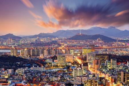 south korea: Downtown Seoul, South Korea, USA. Stock Photo