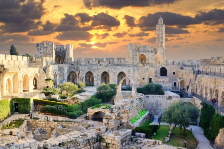 domes: Tower of David in Jerusalem, Israel. Editorial