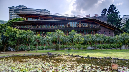 public library: The eco friendly Beitou Library building in Taipei, Taiwan.