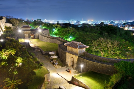 Protective wall on the grounds of Shuri Castle in Naha, Okinawa, Japan.