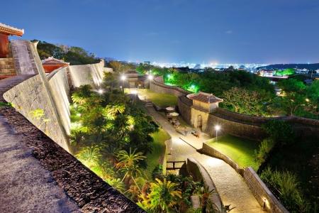 okinawa: Protective wall on the grounds of Shuri Castle in Naha, Okinawa, Japan. Editorial